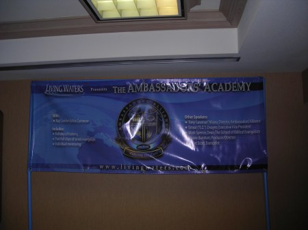 The vinyl banner for the Academy.